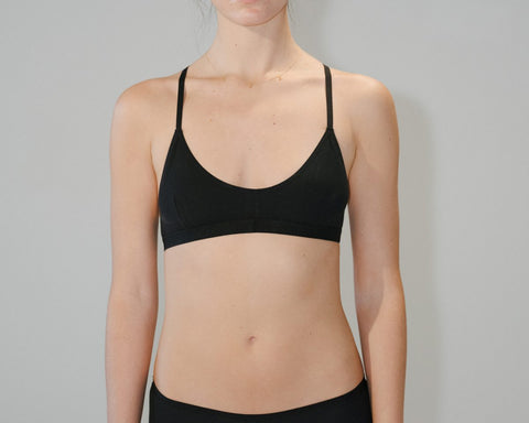 Black Cotton Rib X Bra