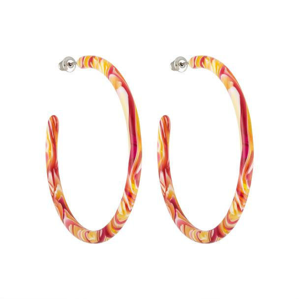 Pink Swirl Large Hoops