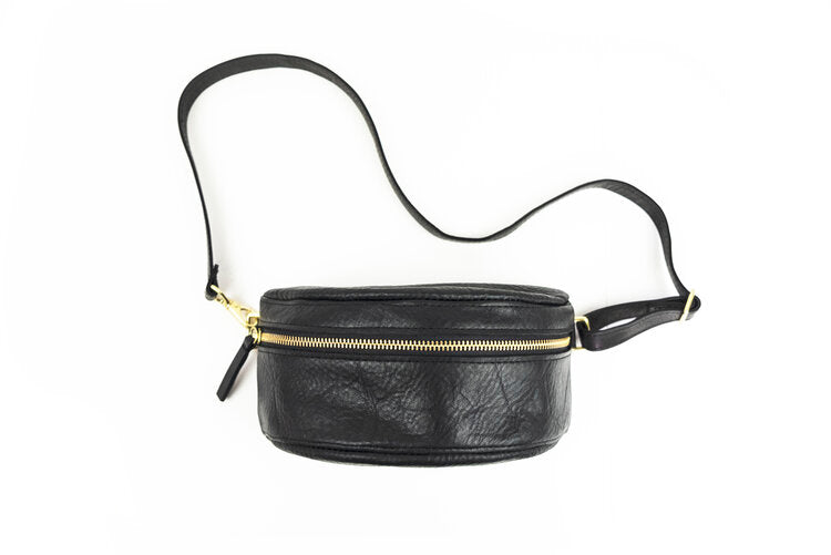 Black Leather Bum Bag