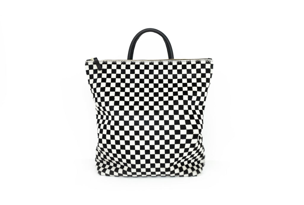 Checkered Cowhide Backpack