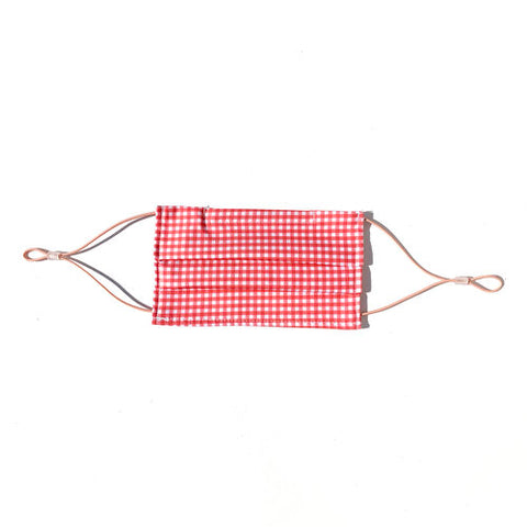 Coral Gingham Cotton Face Mask