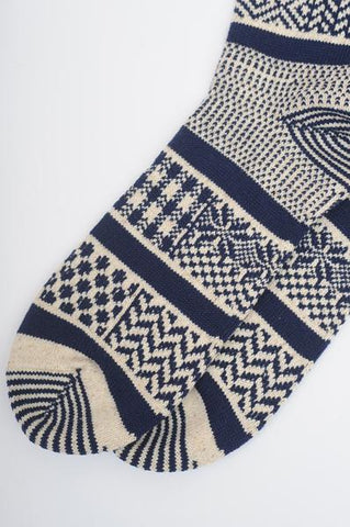 Navy Multi Jacquard Socks