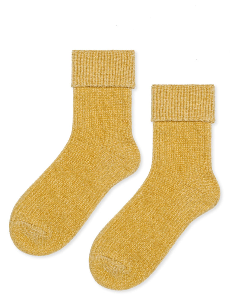 Yellow Chenille Turncuff Crew Sock