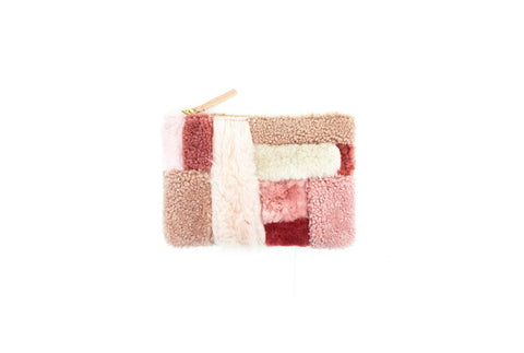 Pink Shapes Shearling Pouch