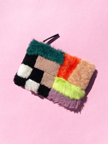 Playground Shearling Zipper Pouch