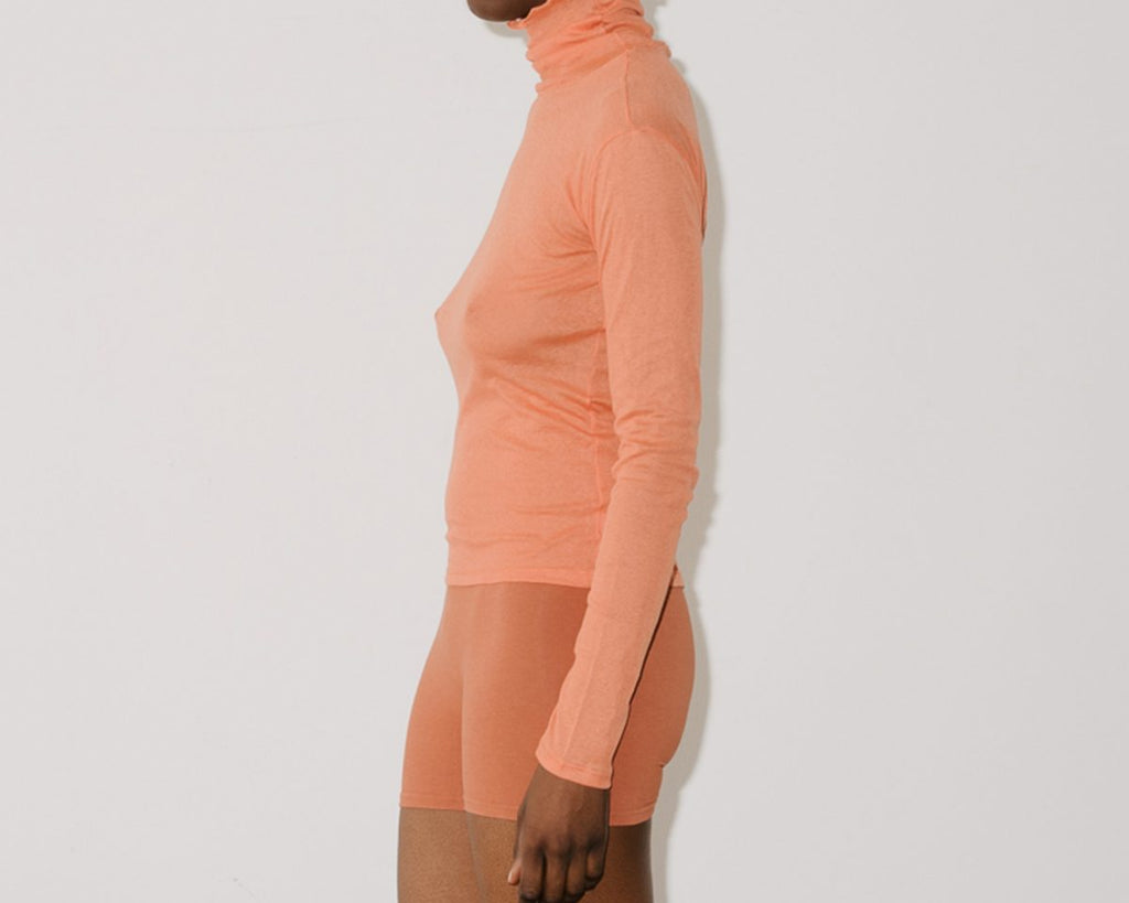 Puig Burnt Orange Gauze Turtleneck