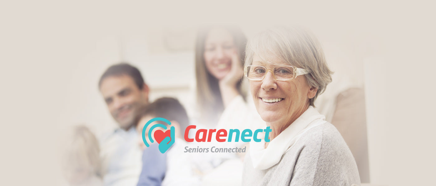 Carenect helping seniors stay connected with iphone, Samsung, 5, 6, edge, tablets, at home or traveling.
