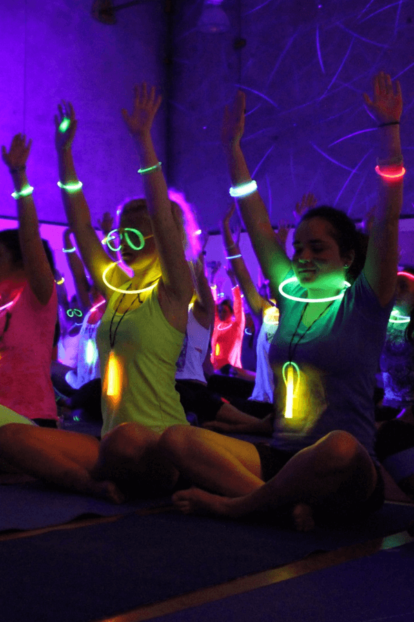 People doing yoga at rave yoga