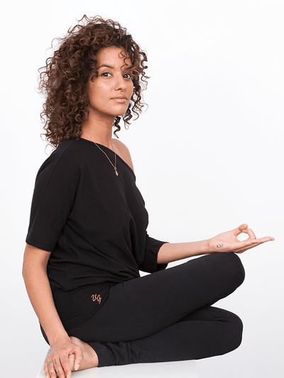 Bhav Organic Women's Long Yoga Tunic, Black or Dark Orange, Organic Cotton + Lycra - Urban Goddess - £54.95
