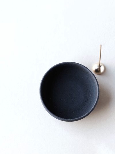Raw Black Stoneware Incense Bowl & Dome Holder