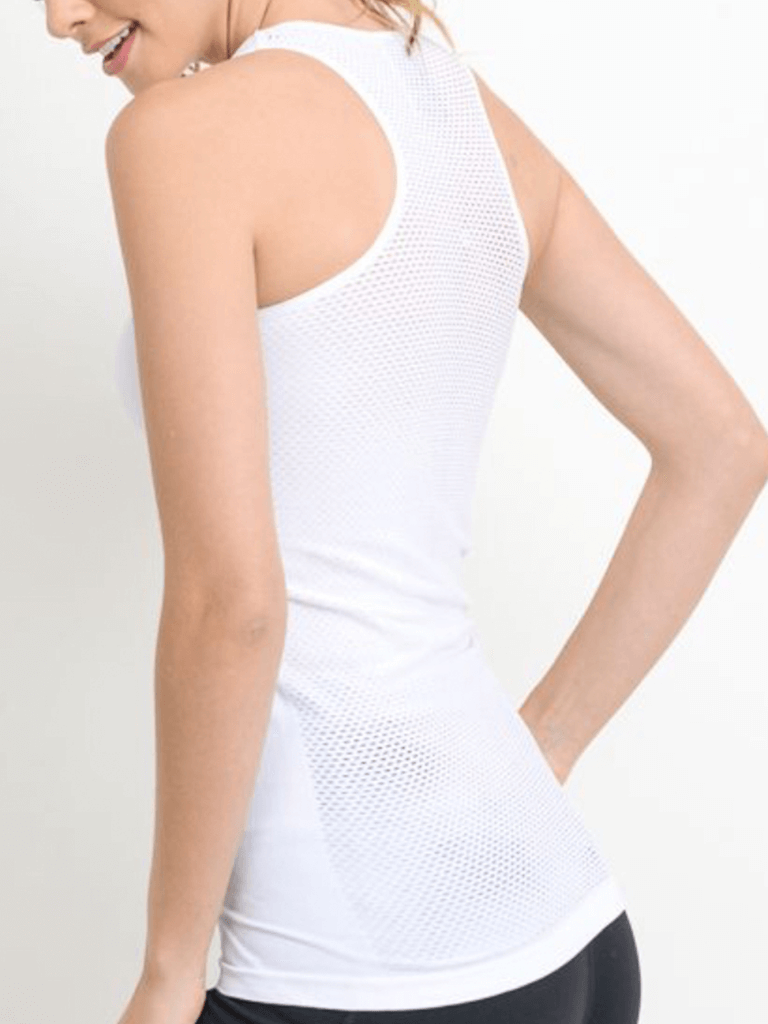 Tidal Mesh Tank Top Cloud White