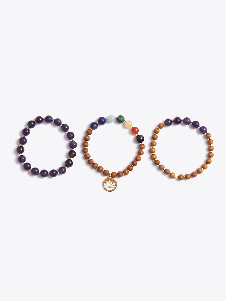 Growth & Wisdom Chakra Bracelet Stack & Essential Oils Gift Box - Made By Yogis - £107.00