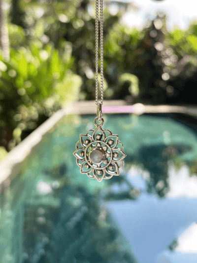 Mandala of Life Necklace - Recycled Sterling Silver with Moon Stone