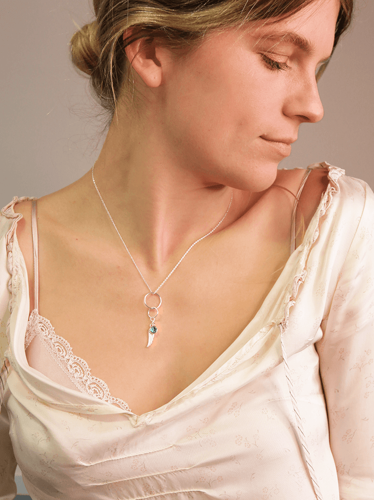 Sterling Silver Angel Wing Necklace - YogaClicks - £26.95