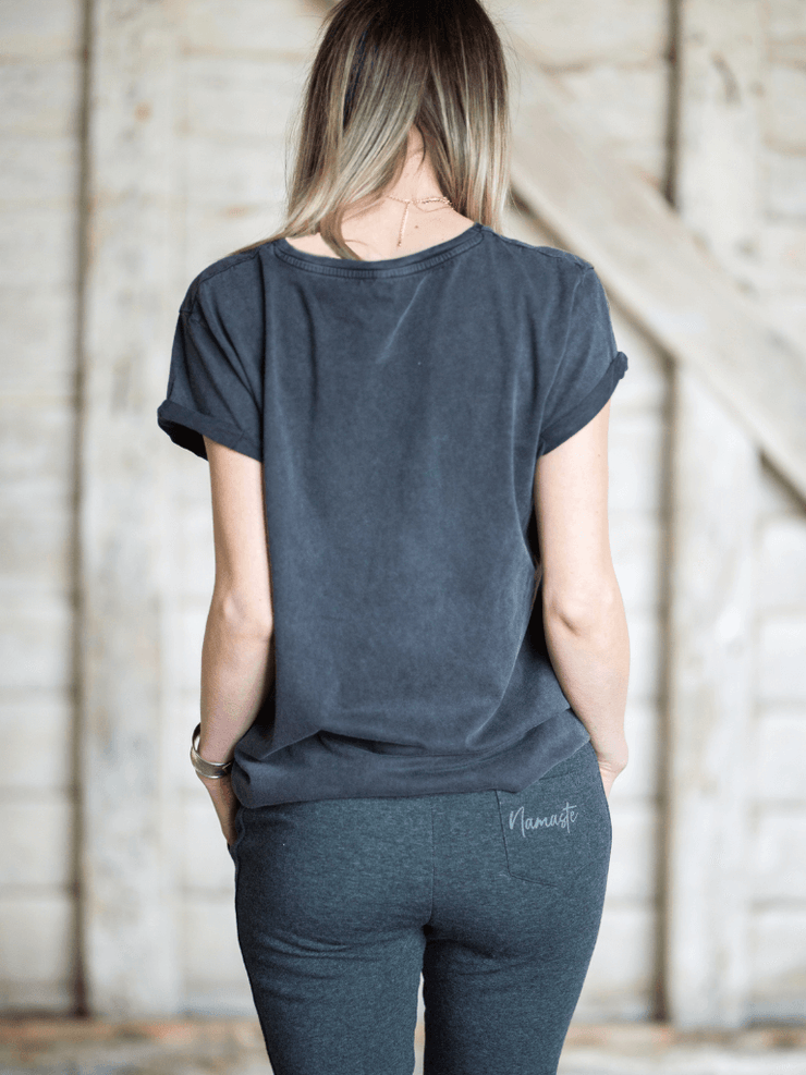 Breathe Rolled Sleeve Yoga T-Shirt - Organic Cotton, Stone Washed - YogaClicks - £29.95