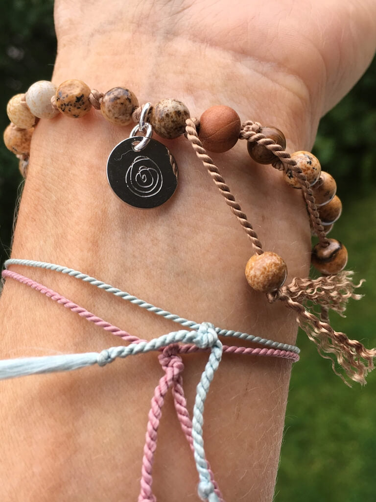 Creativity and Protection Mala Bracelet on Silk