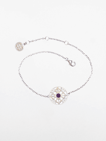 The Serenity of Harmony - White Gold & Amethyst Gemstone Bracelet