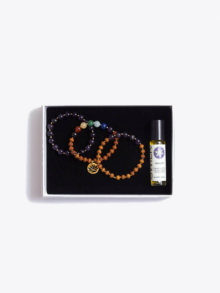 Growth & Wisdom Chakra Bracelet Stack & Essential Oils Gift Box