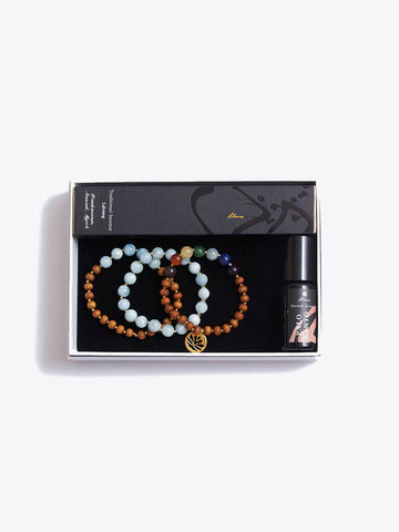 Chakra Bracelet Stack & Incense Sticks & Essential Oils Gift Box - Made By Yogis - £129.00