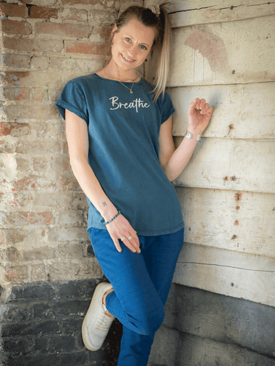 Breathe Rolled Sleeve Yoga T-Shirt - YogaClicks - £29.95