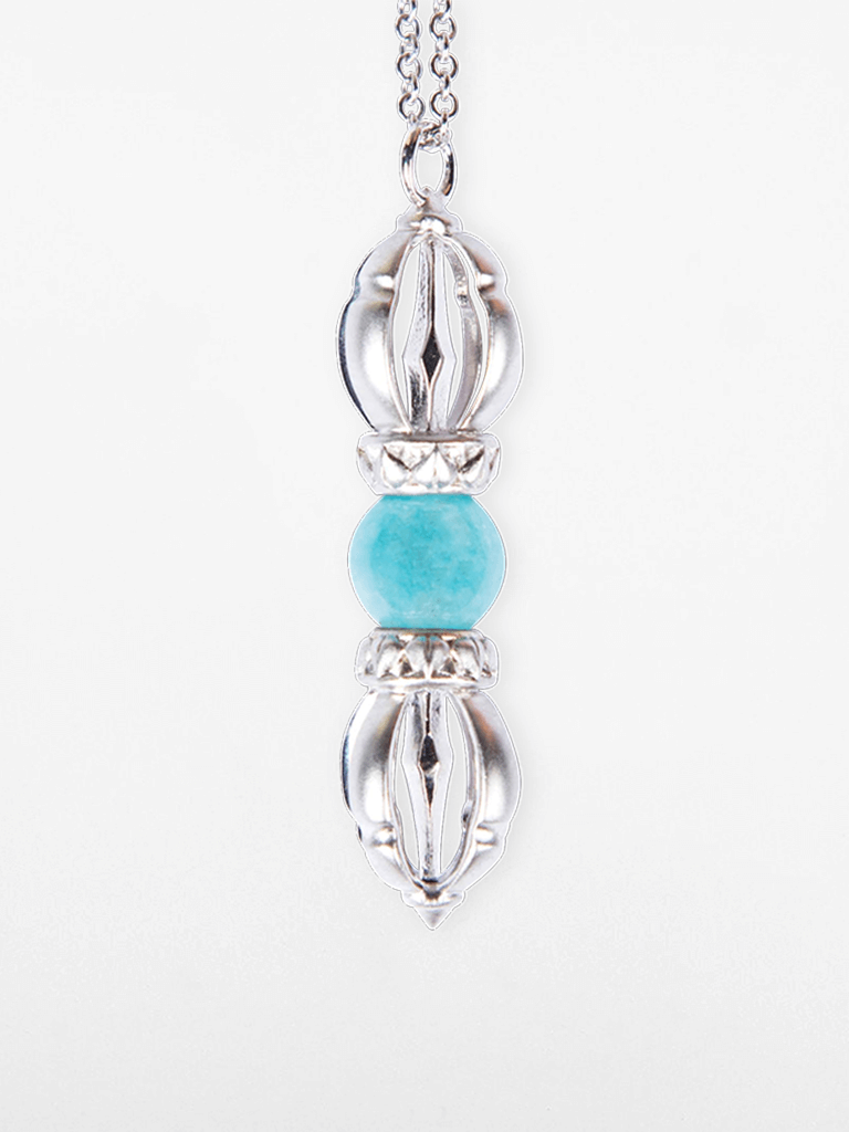 The Ocean of Infinity - White Gold & Aquamarine Gemstone Necklace