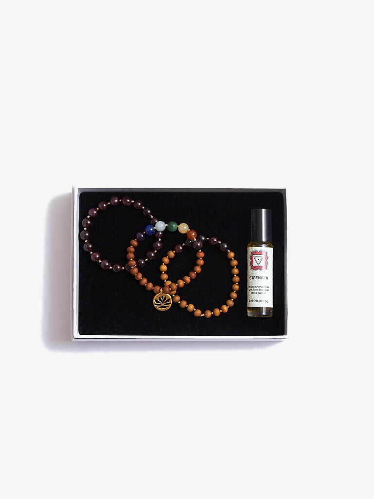 Strength & Stability Chakra Bracelet Stack & Essential Oils Gift Box