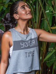 YO:GA Time Women's Crop Yoga Top, Organic Cotton, Grey