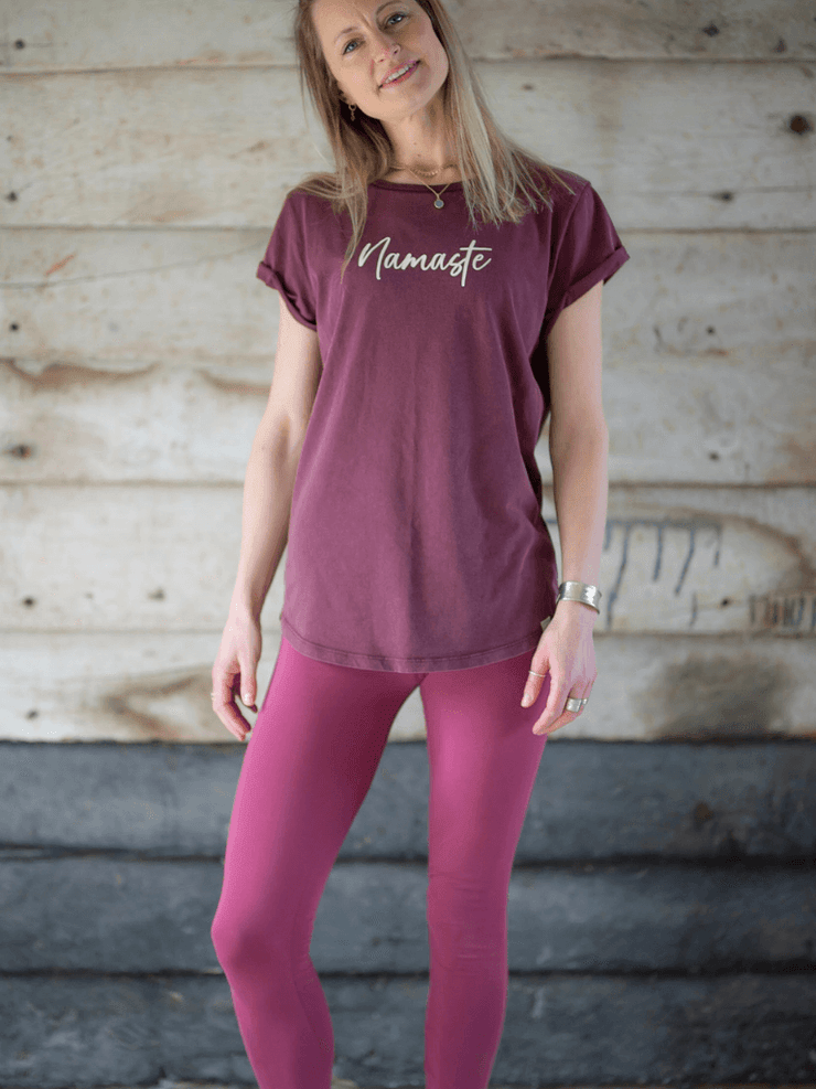 Classic Women's Organic Cotton Yoga Leggings, Black or Maroon
