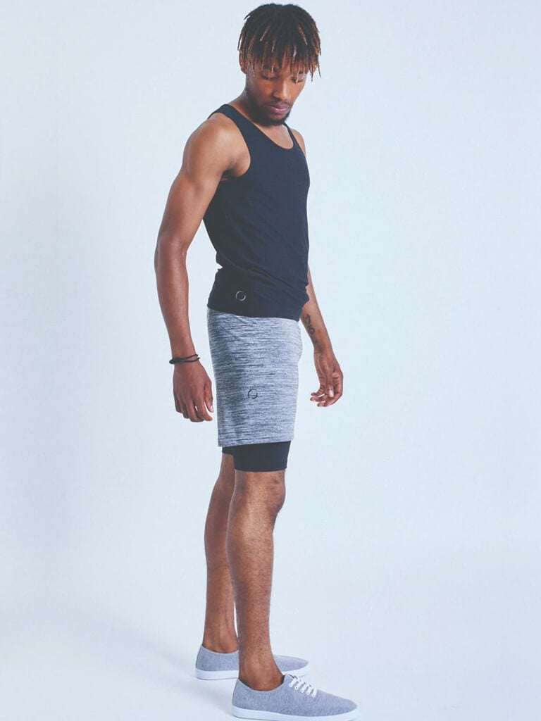 2-Dogs Lined Yoga Shorts for Men - Grey