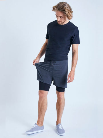 2-Dogs Lined Yoga Shorts for Men - Graphite - OHMME - £45.00