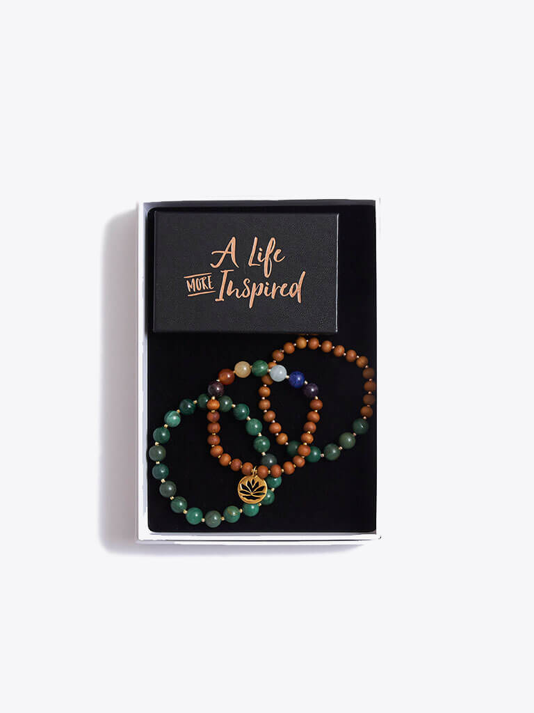 Chakra Bracelet Stack & Inspirational Cards Gift Box