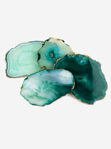 Set of 4 Agate Coasters - Green