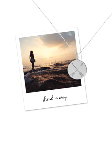 Find A Way Crossed Arrow Necklace - Sterling Silver