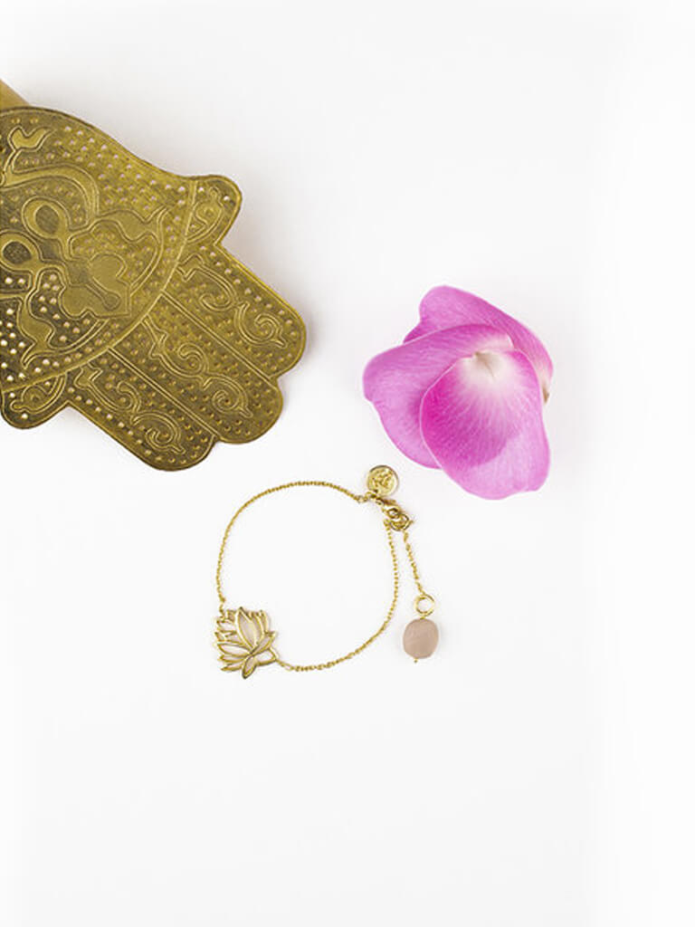 Lotus Bracelet With Rose Quartz Drop - Gold