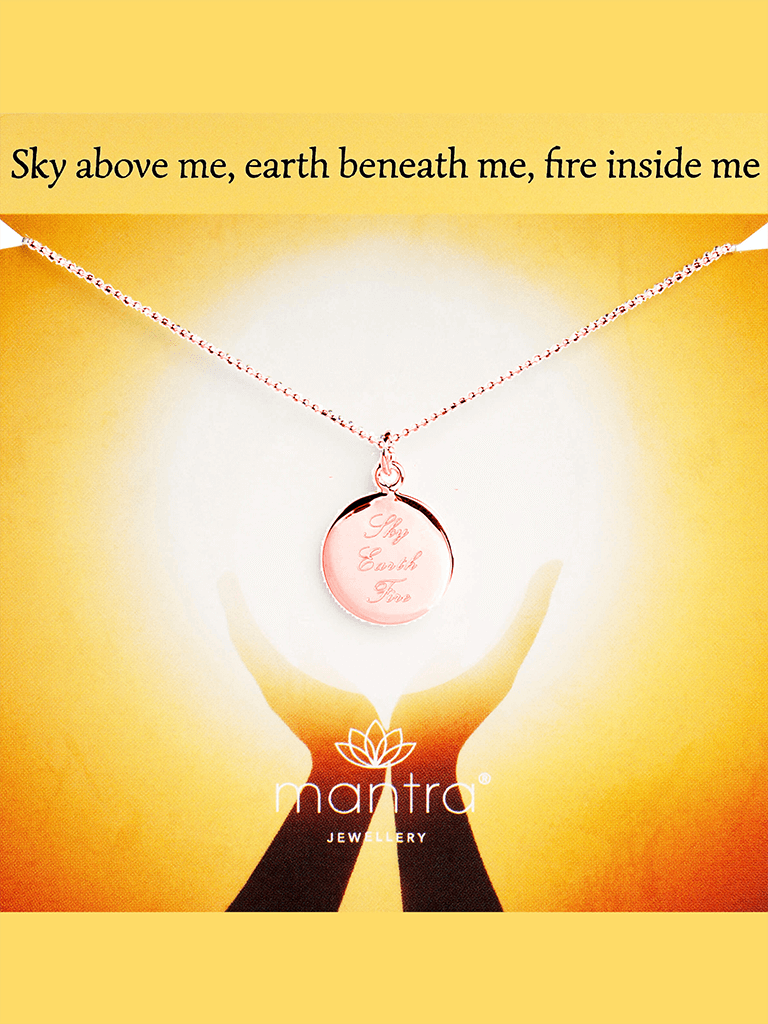 Sky, Earth, Fire Pendant - Rose Gold - Mantra Jewellery - £65.00