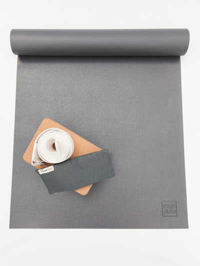 The Affordable Grey Yoga Mat Bundle + Plain Linen Lavender Eye Pillow - YogaClicks - £47.50