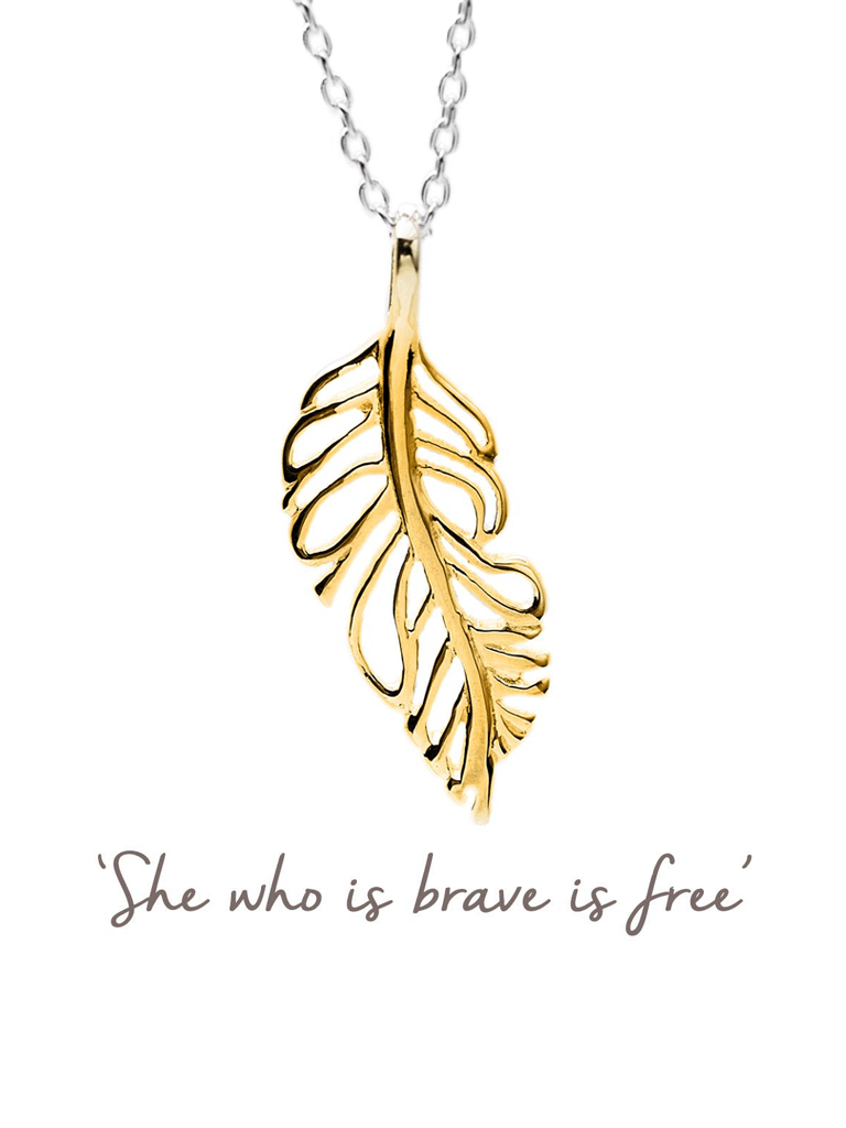 Plume Feather Necklace - Gold