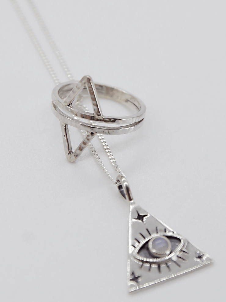 I see You Necklace - Recycled Sterling Silver with Moon Stone