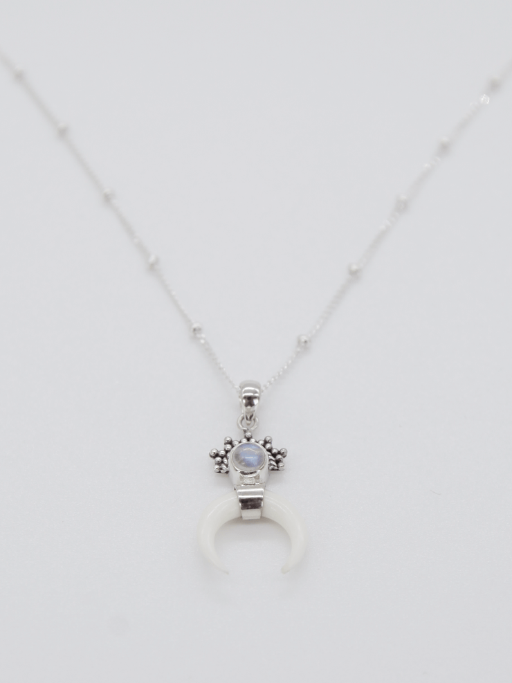 Moon Child Necklace - Recycled Sterling Silver with Moon Stone - Free Spirit - £49.00