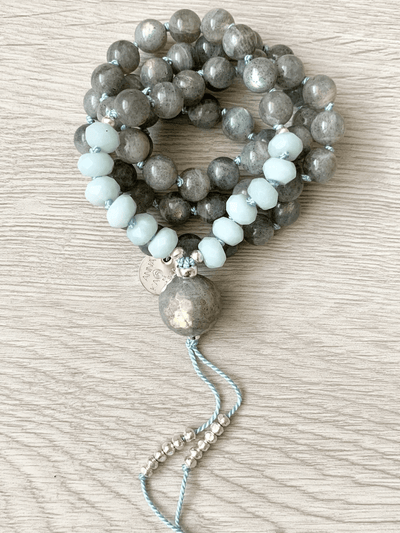 AnnakaTaika Mala necklaces Grey Calm and Protection half Mala
