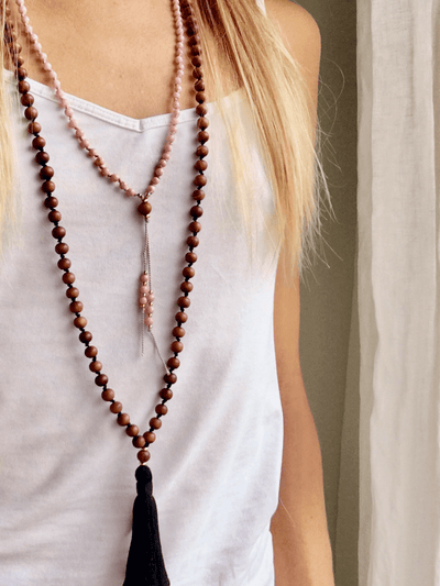 AnnakaTaika Mala necklaces One Size / Natural Simple Sandalwood Mala Necklace