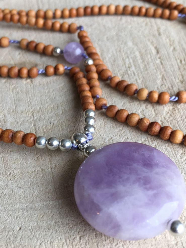 AnnakaTaika Mala necklaces One Size / Purple Amethyst Baby Sandalwood Mala Necklace
