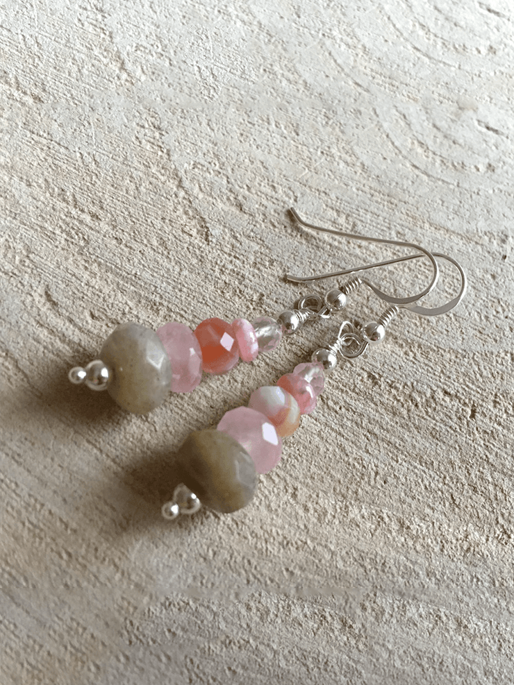 AnnakaTaika Spiritual earrings One Size / Pink Loving Protection Gemstone Silver Earrings