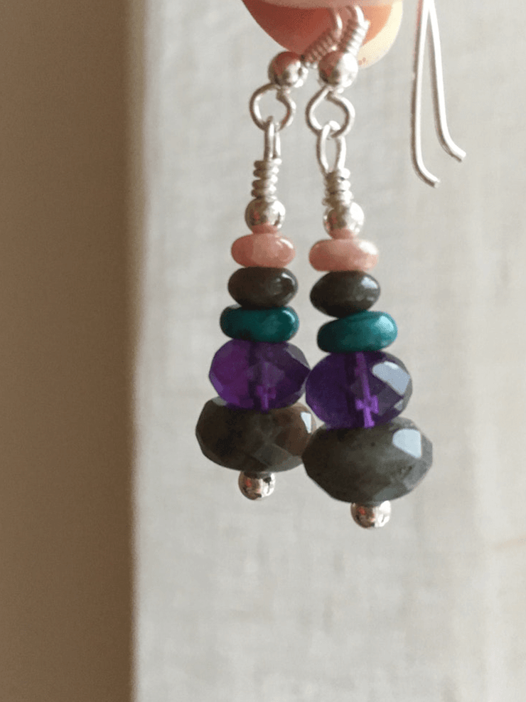 AnnakaTaika Spiritual earrings One Size / Purple The Protector Gemstone Silver Earrings