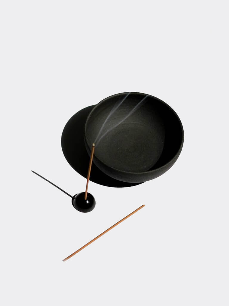 Raw Black Stoneware Incense Bowl & Brass Holder