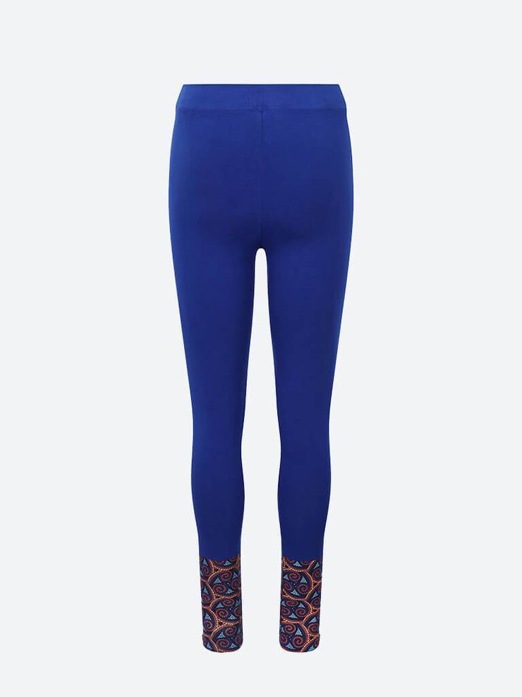 Adorned Ankle Yoga Leggings, Blue With Ankle Swirl Print - chaYkra - £24.00
