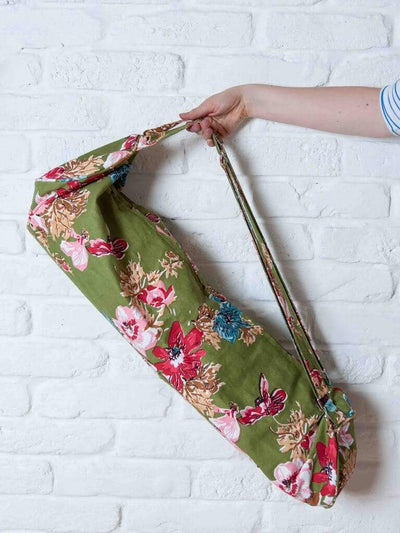Ekotex Yoga Yoga Mat Bags Green Flora Cotton Mat Bag