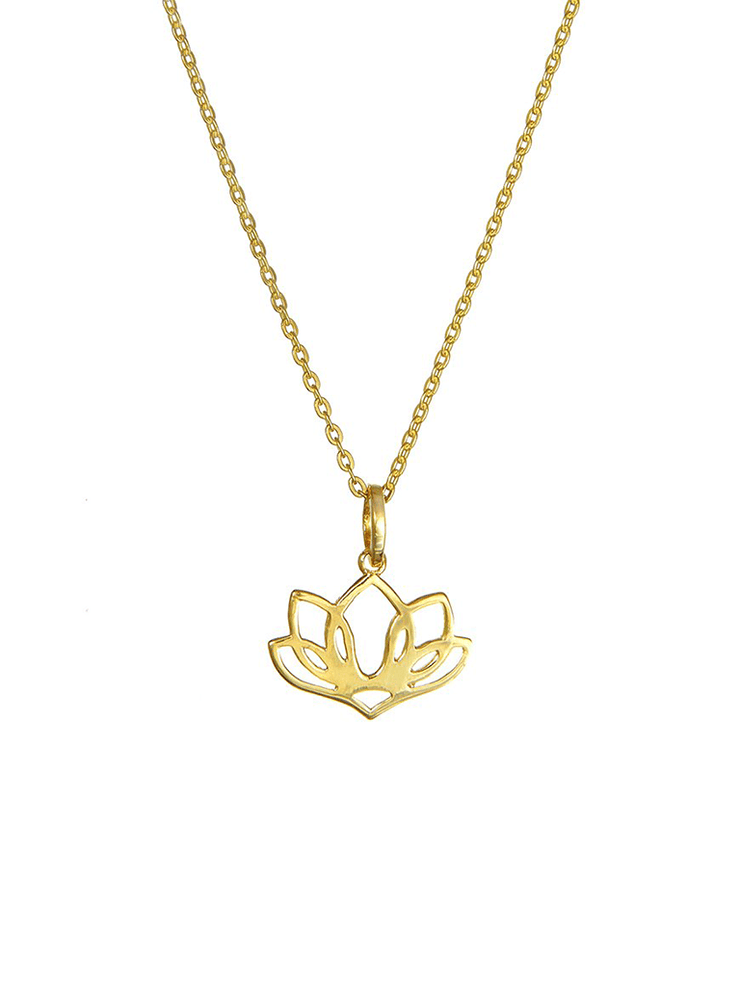 Eternal Bliss Spiritual necklaces Gold Five Leaf Lotus Pendant