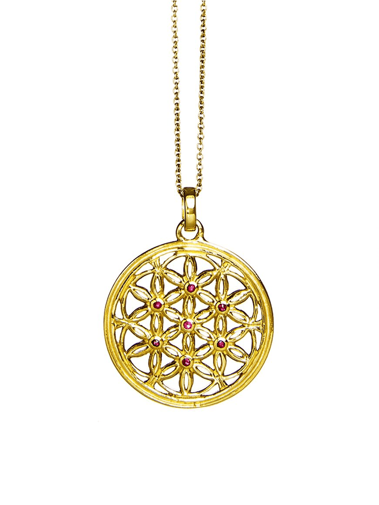 Eternal Bliss Spiritual necklaces Gold Flower of Life Ruby Gemstone Pendant