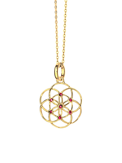 Eternal Bliss Spiritual necklaces Gold Seed Of Life Ruby Gemstone Pendant